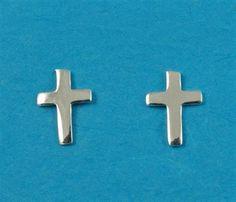 £8.00 incl tax  Sterling silver cross design stud earrings.  Approx 8mm long.