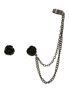 Black Rose Cuff Earrings | Hot Topic