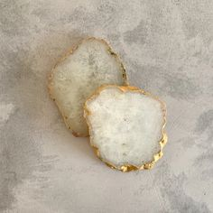 Handcrafted in India, these unique natural stone coasters feature a gold rimmed edge. South African Shop, Stone Coasters, Handmade Crafts, Natural Gemstones, Agate, Im Not Perfect, Gold, Shops, Design Ideas
