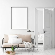 Mock Up Poster Frame In Hipster Interior Background, Scandinavian Style Stock Image - Image of brand, collection: 123770579 Photo Frame Design, Minimalist Interior, Scandinavian Style, Frames On Wall, Interior Inspiration, Corporate Identity, Identity Design, Print Store, Furniture