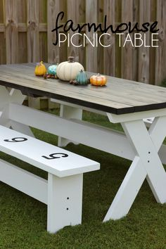Learn how to build this farmhouse picnic table with limited wood working skills.