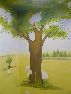 Carola Sommer❤Malerei Wände Kinderzimmer Schafe Bäume Kindergarten  Gestaltung Mural