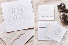 Romantic Mint & Peach Square Invitation with lace - Invitation Stationery Lace Invitations, Place Cards, Stationery, Peach, Mint, Place Card Holders, Romantic, Paper Mill, Stationery Set