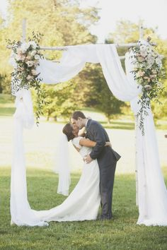 Birch chuppah with dreamy draping and muted flowers The Couple VanderBUILT :: Brittany + Kyle Wedding Arch Greenery, Wedding Chuppah, Wedding Ceremony Flowers, Floral Wedding, Wedding Arches, Ceremony Arch, Wedding Show, Dream Wedding, Birch Chuppah