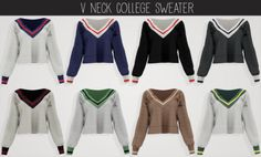 🌿 elliesimple - V-Neck college sweater 🌿 V-Neck college sweater The Sims 4 Pc, Sims 4 Cas, My Sims, Sims Cc, Sims 4 Game Mods, Sims Games, Sims Mods, Sims 4 Black Hair, The Sims 4 Cabelos