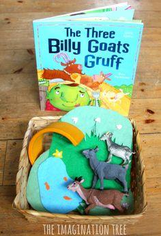 The Three Billy Goats Gruff Storytelling Basket - The Imagination Tree Preschool Books, Kindergarten Literacy, Early Literacy, Literacy Activities, Preschool Activities, Children Activities, Reading Activities, Literacy Centers, Traditional Tales