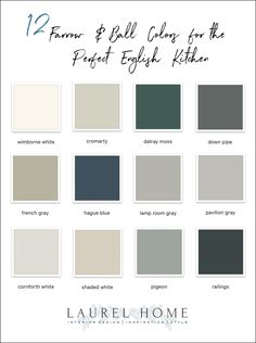 Here are 12 Farrow and Ball Colors for the perfect English Kitchen. Or, it could be an American kitchen or a Brazilian kitchen. Farrow And Ball Kitchen, Farrow And Ball Paint, Farrow Ball, Kitchen Paint Colors, Paint Colors For Home, Paint Colours, Paint For Kitchen Walls, Exterior House Colors, Exterior Paint