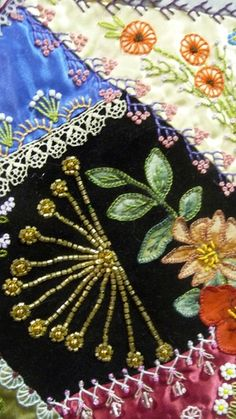 Crazy Quilt by Gerlinde Hruzek - Flora and Fauna Types Of Embroidery, Hand Embroidery Stitches, Crewel Embroidery, Hand Embroidery Designs, Ribbon Embroidery, Embroidery Patterns, Quilt Patterns, Crazy Quilt Stitches, Crazy Quilt Blocks