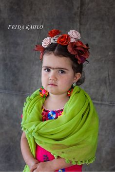 Little Frida Kahlo Kid's Halloween Costume . now this is a serious halloween costume but the poor kid is most likely wanting to be hello kitty. Badass Halloween Costumes, Homemade Halloween Costumes, Cute Costumes, Costume Ideas, Happy Halloween, Funny Halloween, Halloween Costumes For Toddlers, Awesome Costumes, Halloween Photos