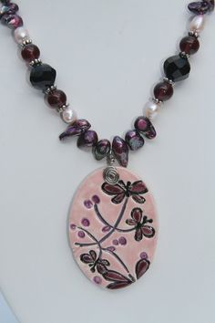 Ceramic Jewelry  Pink Purple and Black Butterfly by kimjustice, $40.00