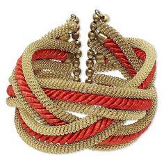Red Braided Satin and Gold Brass Mesh 42mm Wide Twisted Pretzel Cuff Bracelet