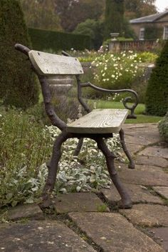 A Park Bench On A Stone (Grey) Walkway; Northumberland, England Poster Print x Cast Iron Bench, Garden Seating, Garden Benches, Porch Bench, Northumberland England, Stone Walkway, Rustic Bench, Bench Stool, Garden Fountains