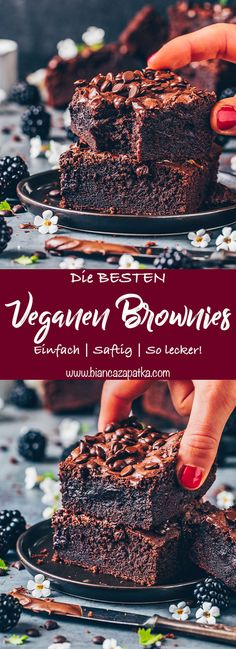 These are the best brownies! These chocolate brownies are juicy, fudgy, chocolatey and quick and easy to prepare in just 30 minutes! The best vegan brownies recipe. Easy Cake Recipes, Healthy Dessert Recipes, Brownie Recipes, Vegan Fudge Brownie Recipe, Chocolate Flavors, Chocolate Recipes, Best Vegan Brownies, Vegan Chocolate Brownies, Beste Brownies