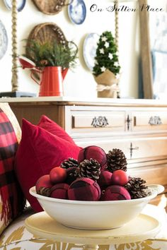 Red Buffalo Plaid Christmas Ornament | Easy tutorial to make these ball ornaments. You can use any fabric you have on hand but I used this popular red buffalo check. Pics and easy instructions!