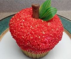 Decorating Cupcakes-The Apple. This will be micah's gift to his teacher each year!!