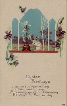 Vintage Easter Rabbit Poem Postcard #Easter