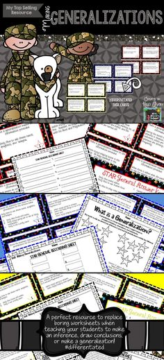 Generalizing or Making Generalizations - Teaching students how to generalize in reading does not have to be a challenge with these differentiated task cards and activities!  Click here to see what other reading teachers have to say about this top selling literacy resource and have your students making generalizations in no time!