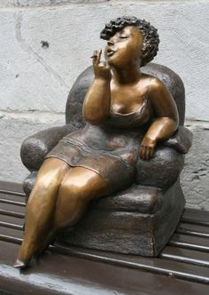 """My last cigarette"" Bronze sculpture by artist Rose-Aimée Bélanger"