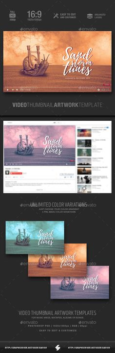 Electronic music youtube video thumbnail artwork template Music mix, compilation or single track video thumbnail template for DJs