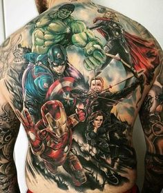 An Avengers portrait you'll never forget. - Marvel Tattoos That'll Make You Want to Be a Superhero - Photos