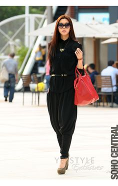 how to wear black Harem pants  I want to be able to rock this but I fear it is not the best idea....