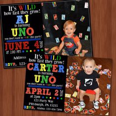 UNO Themed Birthday Party Invitation - UNO - One Year Old - 1st Birthday Ideas - One - Colorful - Unique - Printable - Uno Cards by CraftonCrafters on Etsy https://www.etsy.com/listing/271261399/uno-themed-birthday-party-invitation-uno