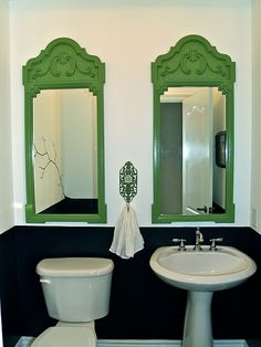 Love the double green mirrors...via The Vintique Object