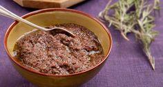 TapenadeVoir la recette de la Tapenade >> Oeuf Bacon, Mozzarella, Galette, Light Recipes, Oatmeal, Pudding, Breakfast, Desserts, Chutneys