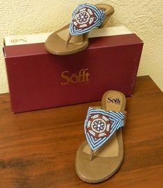 Sofft Ristna Boho Beaded Leather Thong Sandals 9/40 Party Wedding Pretty Fun NEW #Sofft #HeeledThongs #Party