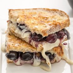 A grown up grilled cheese with red wine, grapes and brie.