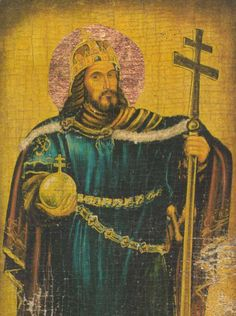 St. Stephen the Great, Stephen was anointed king of Hungary in 1000, receiving the cross and crown from Pope Sylvester II.