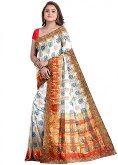 #white #woven #bridal #kanjivaram #silk #saree #blouse #attractive #design #sareelove #new #arrivals #beautiful #indianwear #ootd #traditional #womenswear #online #shopping