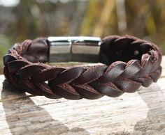 Soft, supple braided leather, chrome clasp makes for a beautiful men's braided leather bracelet! - Brown Braided Leather Bracelet with Sliding Magnetic Clasp - OZWristGear.com – OZ Wrist Gear Leather Bracelets