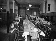 Daycare was not common until the war, when women began to fill up the jobs left by men going to war. Among the many centres that sprung up in Toronto was this one at the Salvation Army on Lisgar St. Man Go, History Class, Factories, Vintage Pictures, World War Ii, Wwii, Toronto, Mothers, Fill