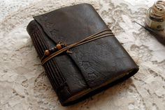 Sea Searching Dark Brown Leather Journal Blue & by bibliographica