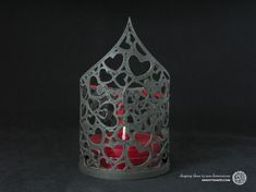 3D Print with black wood: Tealight holder with large tealight candle (Heart no. 1) - 3D Druck mit Holz by GRAVITYSHAPES.com