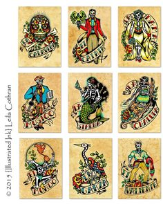 Day of the Dead Art Prints Mexican Loteria SET of 9 Designs