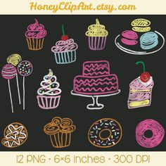 Digital Chalkboard Clipart Bakery Clip Art Cupcake by HoneyClipArt