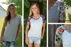 Baseball Tees aren't just for the ball field anymore! With these super cute floral print sleeves, you'll be wanting to wear yours out all summer! Add one to your wardrobe for 50% off at pickyourplum.com!