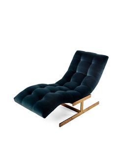 <3 this blue velvet fabric. Milo Baughman wave chaise with brass base. Where have you been all my life