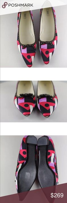 Prada Shoes Low Heel Flats Red Pink Black Size 39 A gorgeous pair of Prada size 39 low heeled flats in red, pink, and black.  Good Condition, Very minor wear marks, they are not new condition, but very well taken care of. Please review the photos for more description and feel free to message for any questions. Prada Shoes Flats & Loafers