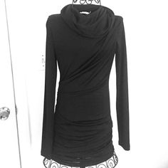 T by Alexander Wang long sleeve fitted black dress T by Alexander Wang long sleeve fitted black dress. Stretchy. Material is mostly rayon with polyester and spandex. Approximately 34 inches long. Gathering on side makes it flattering. Cowl neck. Only worn a few times. Great condition. T by Alexander Wang Dresses Long Sleeve