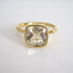 Gold Vermeil Faceted Ring / Tangerine