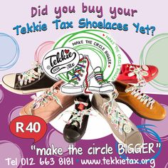 Did you buy your Tekkie Tax 2020 shoelaces yet? Why not… it's easy? They are only R40 per pair and you get a FREE Tekkie Tax sticker, simply visit our website www.tekkietax.org or contact 012 663 8181.  #tekkietax #makethecirclebigger #takehands #lovingtekkies #jamblikprojek South African Celebrities, Long Term Care Insurance, Disability, Grateful, How To Find Out, Wings, Bring It On, Sticker, Portraits