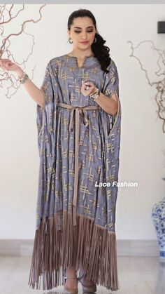 Pack of  2 Ladies/' knitted  Velvet multi  colour embroidery floral long kaftan M
