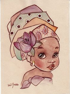 BELLA. Original African Babe Illustration by Raúl Guerra