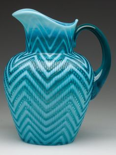 HERRINGBONE WATER PITCHER, blue opalescent, translucent blue applied handle, outstanding color depth and opalescence. Pitcher Of Water, Water Pitchers, Glass Jug, Water Glass, Crystal Glassware, Color Depth, Teal Colors, Vintage Glassware, Antique Glass