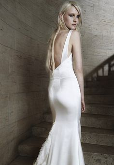 sumptuous silk wedding dress with low back by Vera Wang