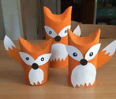 Foxes from toilet paper rolls .Foxes from toilet paper rolls moreThe cutest toilet paper craftOne thing I love about crafts is how they develop! These toilet paper rolls are adorable and modern. Kids Crafts, Fox Crafts, Animal Crafts, Toddler Crafts, Preschool Crafts, Easy Crafts, Arts And Crafts, Craft Kids, Toilet Roll Craft