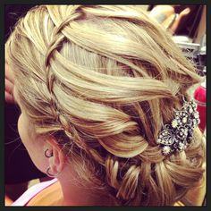 Waterfall braid with loose curled updo Wedding Hair Special Event Hair Fairytale Hair and Makeup